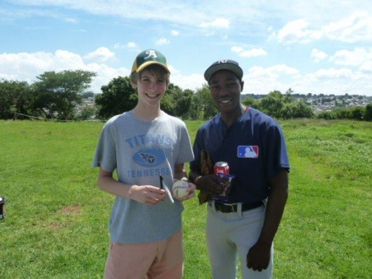 Michael Lebepe with visitor from the United States Ben Thieme in Alexandra