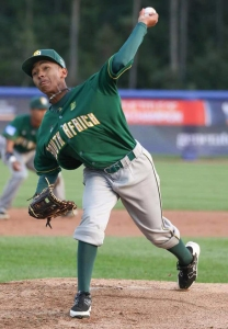 Mohamed Aaloui of Alexandra Baseball pitching at the U18 World Cup in Canada